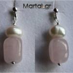 Σκουλαρίκια Rose Quartz Pearl