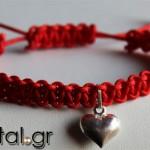 Βραχιόλι Shamballa κόκκινο με καρδιά από ασήμι 925ο