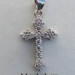Αυτοκρατορικός σταυρός με ζιργκόν και αλυσίδα από ασήμι 925
