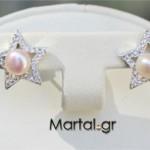 Σκουλαρίκια αστέρια από ασήμι 925ο με ζιργκόν και μαργαριτάρια