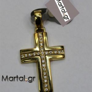 Βαπτιστικός Σταυρός Χρυσός με ζιργκόν 112039