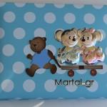 Παιδικό άλμπουμ ποντικάκια με ασήμι 925 και χρωματιστό σμάλτο γαλάζιο