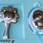 Παιδικό ασημένιο σετ με κουδουνίστρα αρκουδάκι και εικόνα Παναγίτσα γαλάζιο