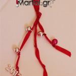 Χειροποίητο Γούρι 2015 καμπάνες - κουδουνάκια με κατακόκκινη κορδέλα