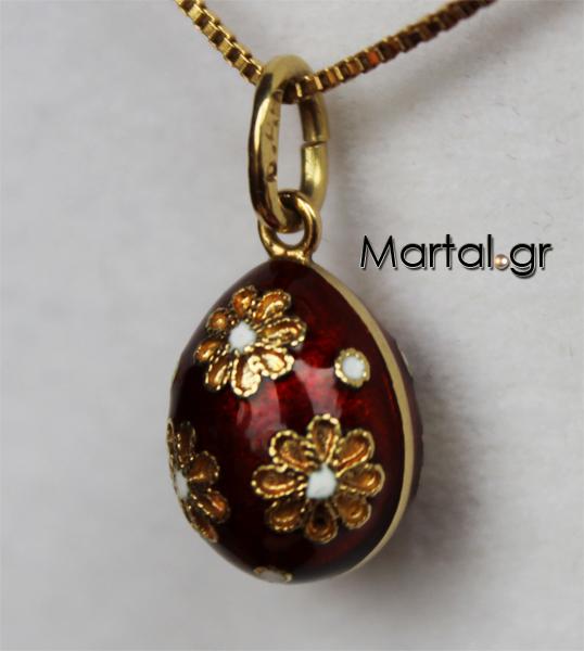 Χρυσό μενταγιόν 18K αυγό με κόκκινο σμάλτo σχέδιο Faberge - Martal.gr 97573ae0f40
