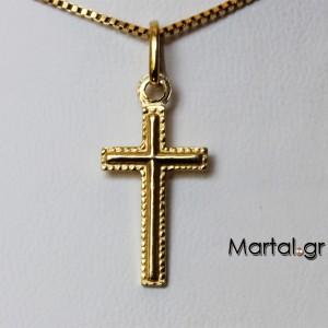 Σταυρός 18K χρυσός με αλυσίδα