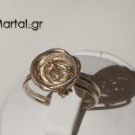 Δαχτυλίδι τριαντάφυλλο χειροποίητο από ασήμι 925 3