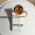 Δαχτυλίδι τριαντάφυλλο χειροποίητο σεβαλιέ από επιχρυσωμένο ασήμι 2