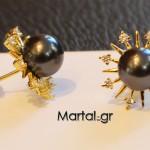 Σκουλαρίκια με μαύρο μαργαριτάρι με ζιργκόν και επιχρυσωμένο ασήμι