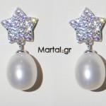 Σκουλαρίκια αστέρια με μαργαριτάρια σε σχήμα δάκρυ από ασήμι 925 και ζιργκόν
