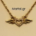 Κολιέ φτερωτός έρωτας - διαβολάκι χρυσό 9Κ με μαργαριτάρια freshwater 2