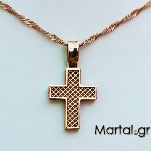 Σταυρός 14Κ χρυσός πλεκτός δύο όψεων και αλυσίδα