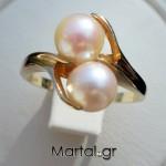 Δαχτυλίδι διπλό μαργαριτάρι από χρυσό 14Κ