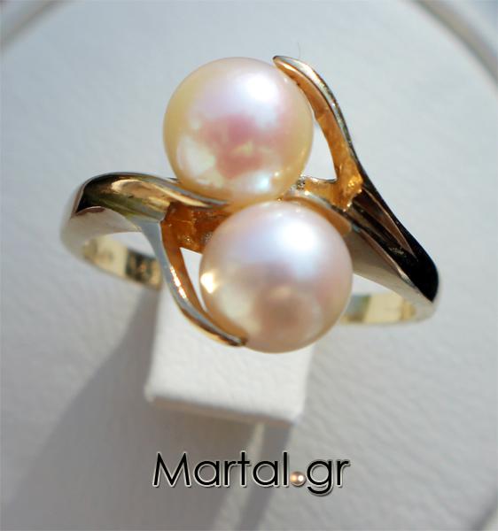 Δαχτυλίδι διπλό μαργαριτάρι από χρυσό 14Κ - Martal.gr 4df69df74dc