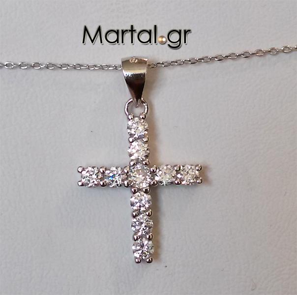 Εντυπωσιακός σταυρός με ζιργκόν από ασήμι 925 - Martal.gr fbc250137c1