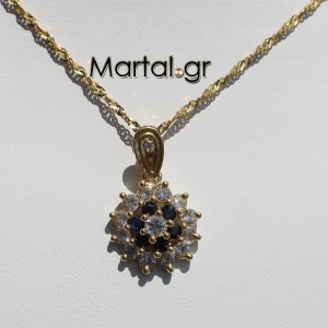 Μενταγιόν άστρο από χρυσό 14Κ με τανζανίτες και ζαφείρια με αλυσίδα 2