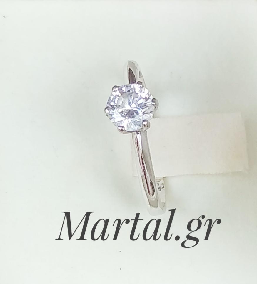 Μονόπετρο δαχτυλίδι λευκόχρυσο 14Κ με ζιργκόν - Martal.gr e4b6651cbe6